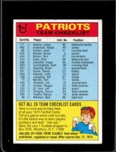 1974 TOPPS TEAM CHECKLISTS #16 NEW ENGLAND PATRIOTS VG PATRIOTS  *X2339 - $1.98