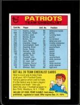 1974 TOPPS TEAM CHECKLISTS #16 NEW ENGLAND PATRIOTS VG PATRIOTS  *X2339 - $1.98