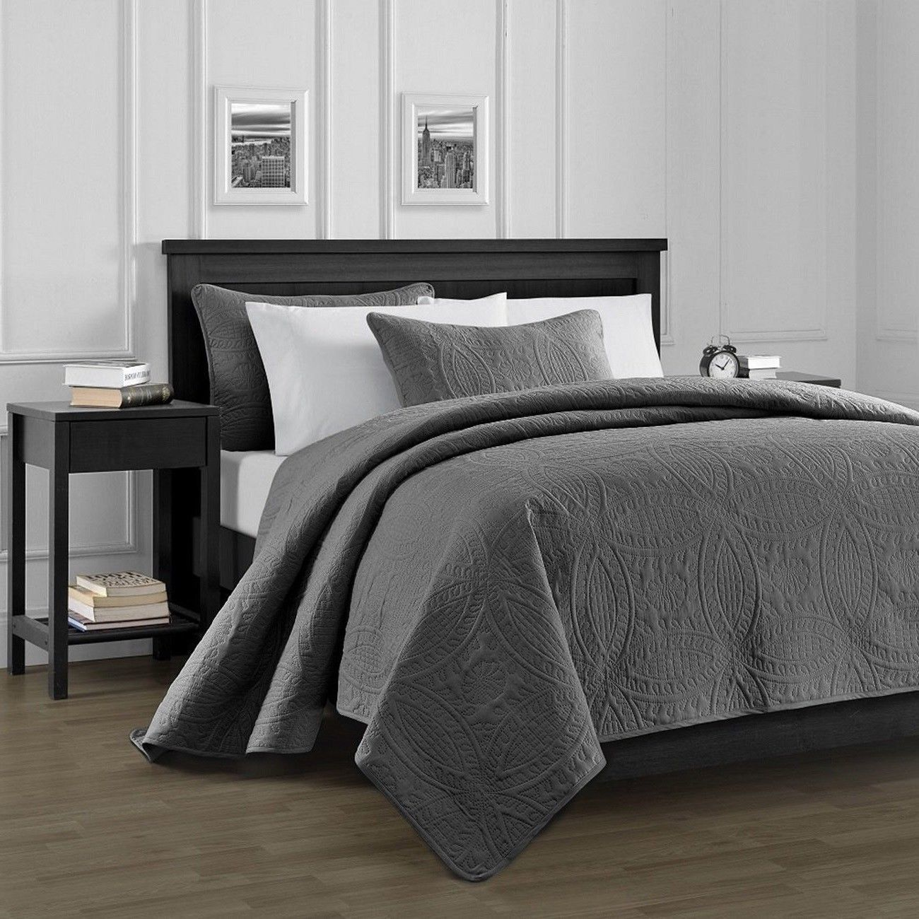 Queen King Size Charcoal Gray Embossed Oversized 3 pc ...