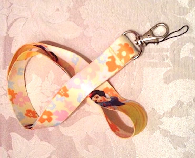 Disney Princess Snow White Lanyard Strap One Piece Cell Phone Key Chain NEW