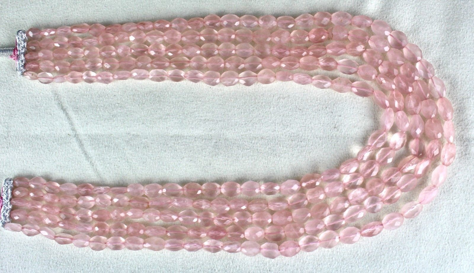 5 L 801 CTS NATURAL PINK ROSE QUARTZ FACETED CABOCHON BEADS NECKLACE FOR LADIES