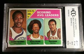 1975 Topps Julius Erving ABA Scoring Leaders BCCG Graded 10  Mint or Better Dr J - $96.61
