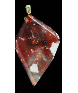 Tiffany Stone pendant, maroon pink, brass bail 68ct - $41.50