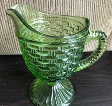 Vintage Imperial Glass Ohio Green Basket Weave Pattern Creamer/Pitcher 5... - $32.73