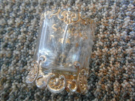 "Old Vintage or Antique Glass Souvenir Small 2"" Cup Vase Trinket Ornate G... - $9.99"