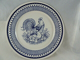 """Haldon Group Rooster Toile 1992 Decorative 8 1/2"""" Blue and white Plate J... - $15.83"""