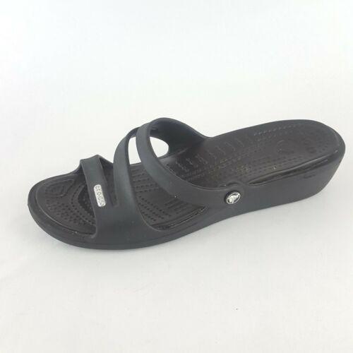 CROCS Patricia Women's 7 Black Slide Sandals OT Low Wedge