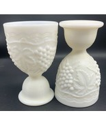 Imperial Milk Glass Grape Pattern Egg Cup Ribbed Stem SET OF 2 (19-1451) - $21.80