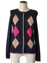 TALBOTS Womens Size S Harlequin Beaded Blue Cotton Blend Button Cardigan... - $22.35