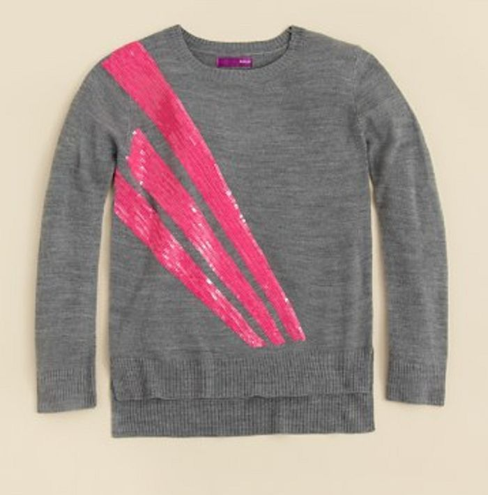 Primary image for AQUA Girls' Asymmetric Sequins Sweater, Charcoal, Size L, MSRP $66