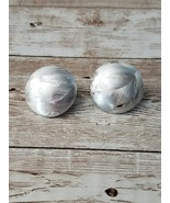 Vintage Clip On Earrings Silver Tone Lightly Patterned Circle - $11.99