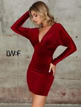 Double Crazy Plunge Neck Batwing Sleeve Velvet Bodycon Dress - $68.99+