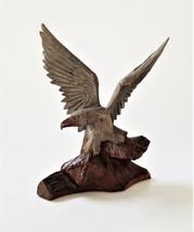 vintage WOOD hand carved AMERICAN EAGLE signed JK ooak aafa treen folk a... - $89.95
