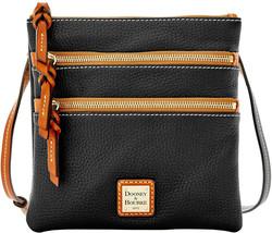Dooney & Bourke Womens Black Gold Pebble Leather Triple Zip Crossbody Ba... - $143.54