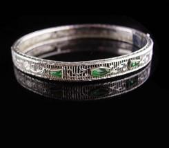 Art deco bracelet / Vintage filigree bangle / Green stone / estate jewel... - $185.00
