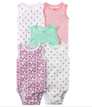 Carter's Baby Girl 5-pk Lace-Trim Sleeveless Bodysuits New Born - $17.99