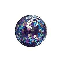 Evergreen Garden Purple Iridescent Flower Petal Mosaic Glass Gazing Ball... - $67.66