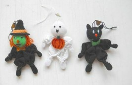 """3 pieces halloween witches Ghosts and Black Cats 2 1/2"""" to 3"""" tall - $6.19"""