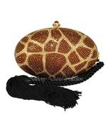 Anthony David Bronze & Gold Animal Print Evening Bag with Swarovski Crys... - $175.22
