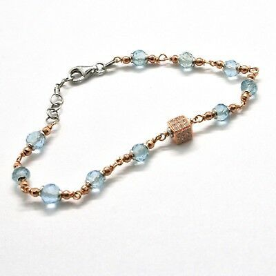 Silver Bracelet 925 Laminated in Rose Gold with Aquamarine and Zircon Cubic image 5