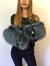 Toned Blue Frost Fox Fur Mittens with Leather Gloves Regular Women's Size - $239.00