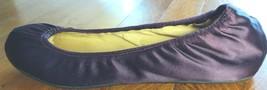 LANVIN HIVER 2007 Women's Satin Ballet Flat Purple Size 37 Plum Leather Shoes - $64.35