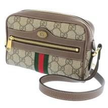 GUCCI Shoulder Bag GG Supreme Canvas Leather Beige Brown 517350 Italy Au... - $925.00