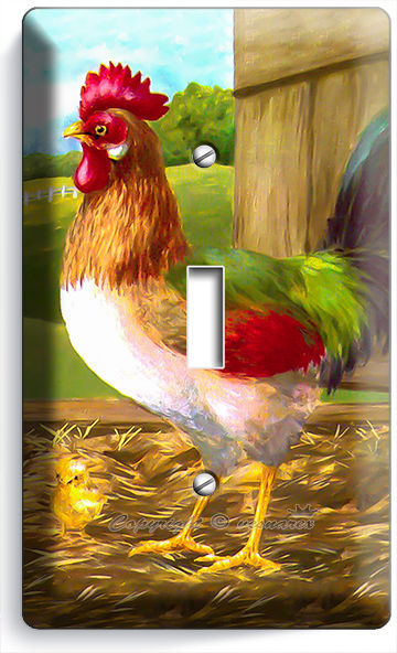 Poultry Rooster Chicken Triple GFCI Rocker Light Switch Plate Cover