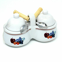 Houston Harvest Gift Products Double Condiment Covered Serving Dish w/ S... - $16.81