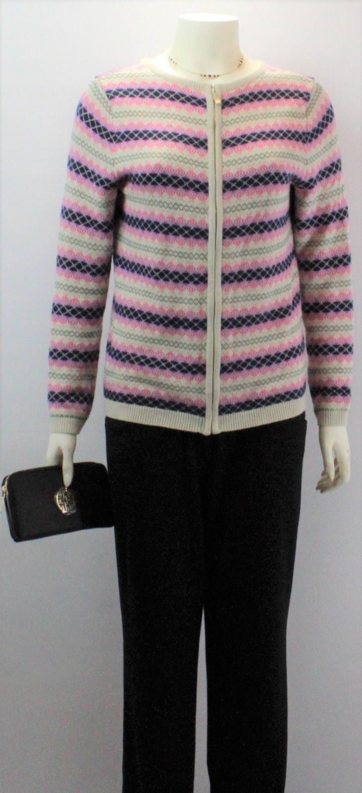 Primary image for Talbots Women's Multicolor Crew Neck Long Sleeve Full Zip Sweater