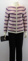 Talbots Women's Multicolor Crew Neck Long Sleeve Full Zip Sweater - $34.65
