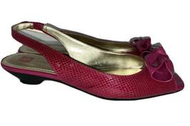 Anne Klein Iflex Women's hot pink bow textured Low Heels size 7M - $21.73