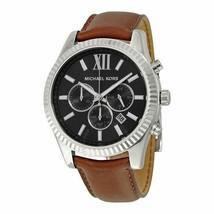 Michael Kors Lexington MK8456 Brown Leather Silver Steel Case Men's Watch - $97.96