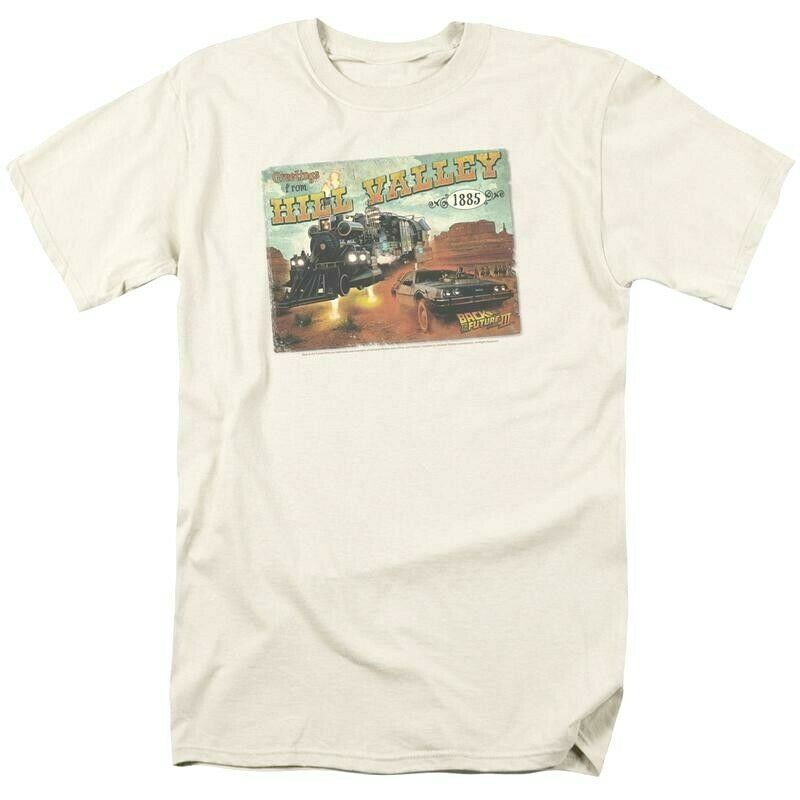 Back to future 3 t shirt hill valley postcard 80 s movie retro cotton tee uni379