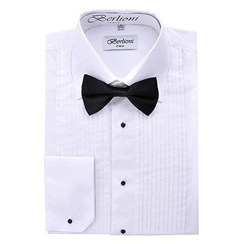 Berlioni Italy Men's Tuxedo Dress Shirt Wingtip & Laydown Collar With Bow-Tie (2