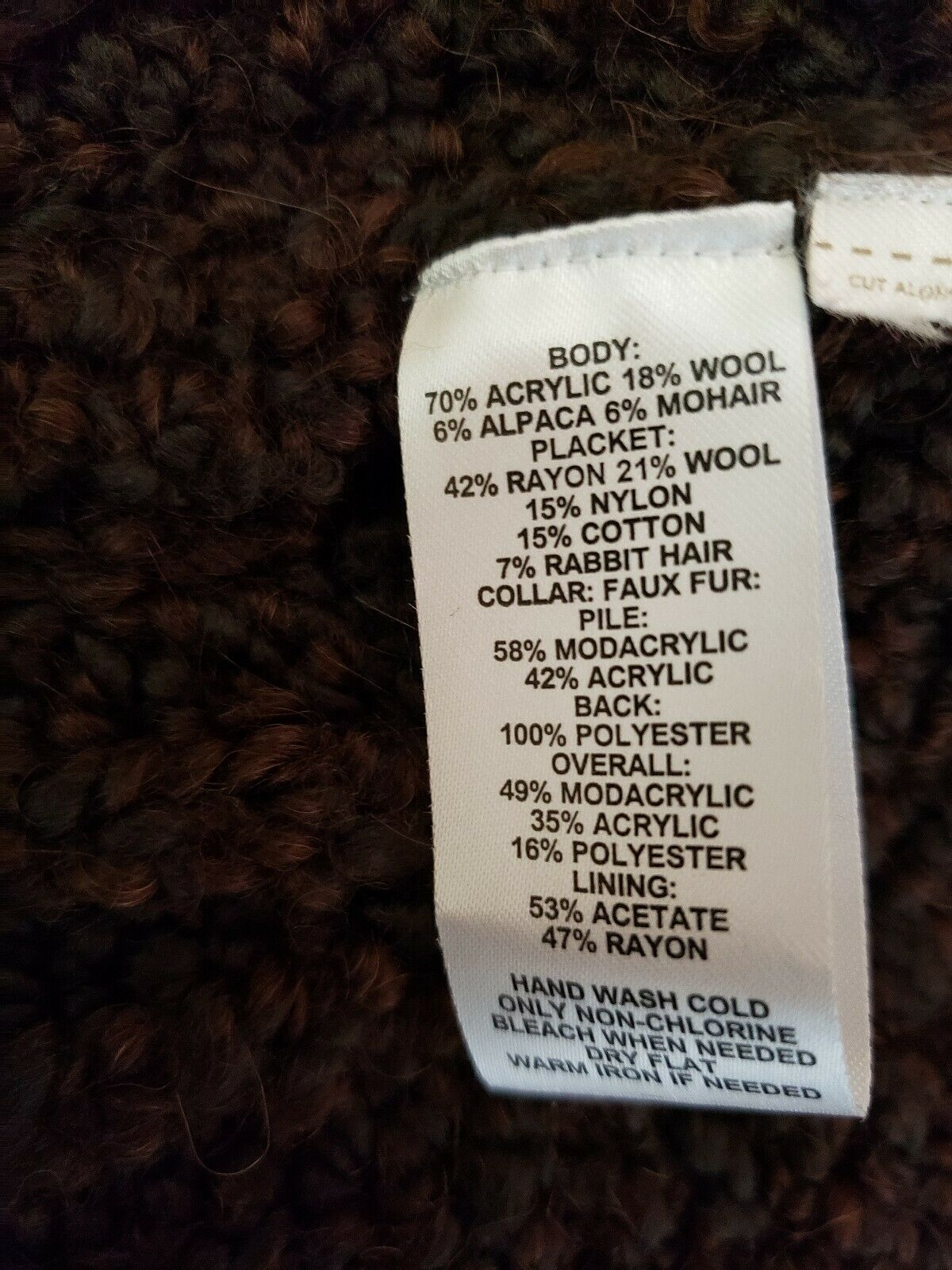 Ann Taylor Loft Womens Sweater Vest Alpaca/Mohair w/ Faux Fur Collar Brown Sz M image 6