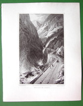 ITALY Alps Scene near Village of Gondo - 1820 Antique Print by Miss BATTY - $26.01