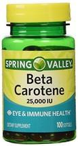 Spring Valley Beta Carotene 25000IU 100ct Softgels - $11.06