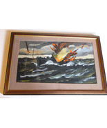 FRED CONWAY (1900-1972) SUBMARINE ATTACK 1940'S WWII ORIGINAL SIGNED ST ... - $2,772.00