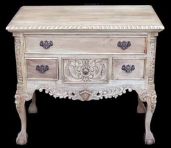 Farmhouse Rustic Natural Mahogany Large Chippendale Low Boy Dresser Cabinet - $629.53
