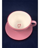 2006 Starbucks Coffee Mug Cup & Saucer Pink Embossed Heart Love Valentin... - $44.54