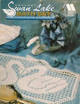 Crochet Large Medium Small Swan Doily Runner Powder Room Vanity Bath Set... - $11.99