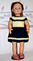 American Girl Blue-Yellow Dress, Handmade, Crochet, 18 Inch Doll - $22.00