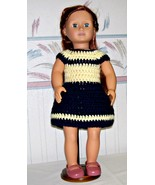 American Girl Blue-Yellow Dress, Handmade, Crochet, 18 Inch Doll - $25.00