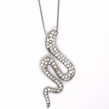 925 silver necklace, Venetian Chain, Pendant Necklace Snake, Zirconia image 2