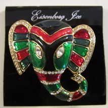 RARE Vintage Designer EISENBERG ICE BROOCH Elephant Tribal Mask BOOK PIECE - $79.95
