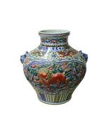 Handmade Ceramic Multi Color Dimensional Foo Dog Vase Jar cs4250 - $1,280.00