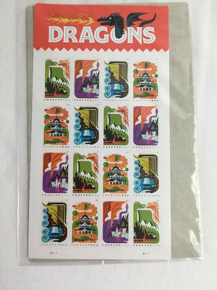 Dragons Stamps Sheet 16 Forever Stamps USA 2018