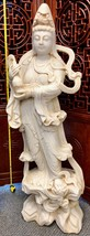 """LARGE 50"""" 325+ LBS HAND-CARVED WHITE SOLID ALABASTER KUAN YIN CHINESE STATUE OLD - $9,900.00"""