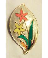 Vintage Signed Park Lane Enamel Flower Gold Tone Brooch Pin Pendant - $19.99